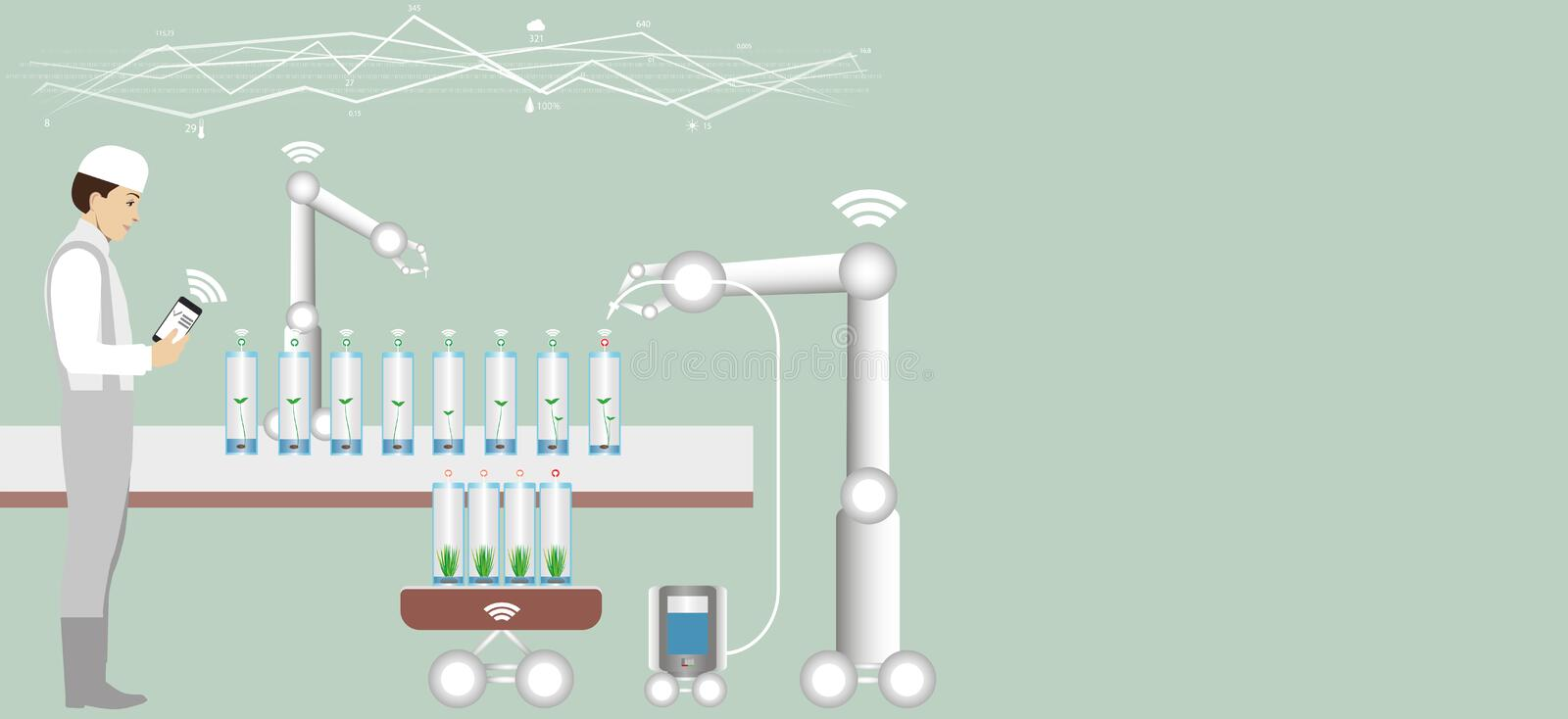 Internet of things in agriculture. vector illustration