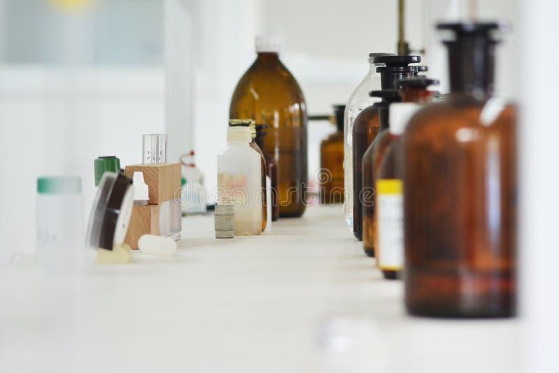 Laboratory preparations. Analog timer, test water stock photos