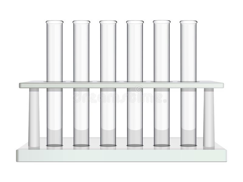 Laboratory rack with glass test tubes. Special equipment for analysis and study of chemical and biological processes in royalty free illustration