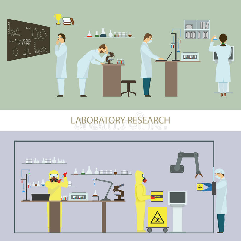 Laboratory Research by Group of Scientists. vector illustration