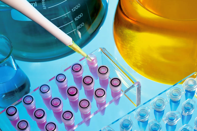 Laboratory scientist. Detail of a table test of a scientific laboratory stock photos