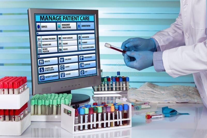Laboratory technician examining a tube of blood stock photo