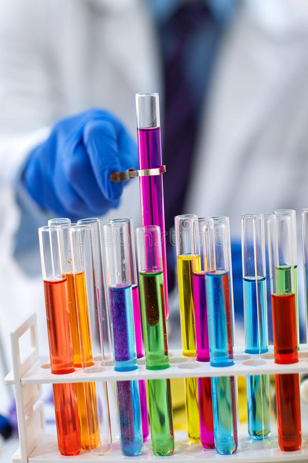 Laboratory test tubes in science research lab royalty free stock photography