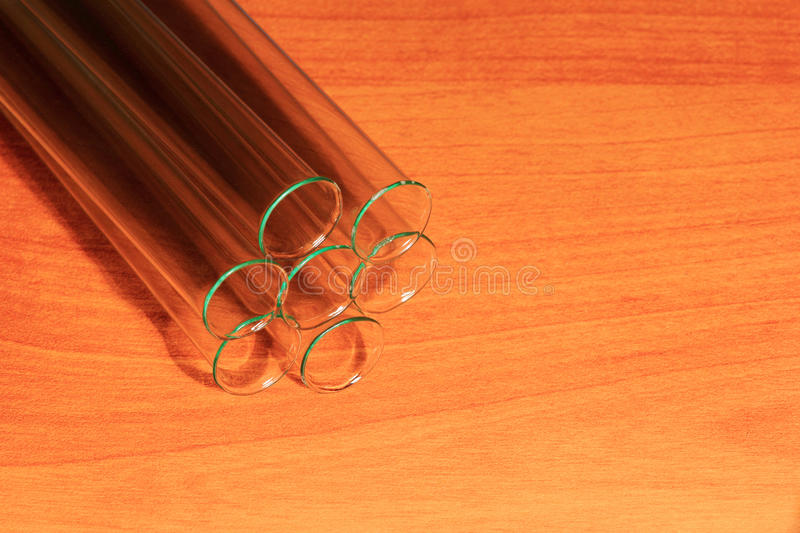 Laboratory Test Tubes, Vials, on wood background royalty free stock images