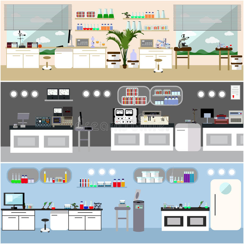 Laboratory vector illustration. Science lab interior. Biology, Physics and Chemistry education concept. Scientific stock illustration