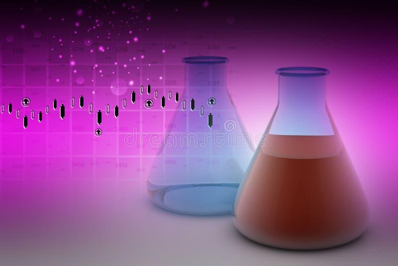 Laborflaschen, die Flüssigkeit enthalten stock abbildung