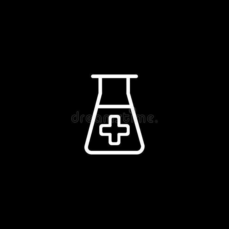Laborikone Vektor-Illustration lokalisiert auf schwarzem Hintergrund Medizinisches Substanzsymbol vektor abbildung