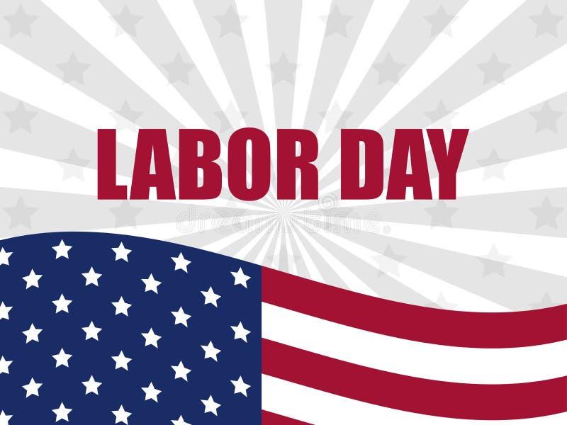 Labour dag 1st Maj Internationell arbetardag Amerikanska flaggan med texten på bakgrunden av strålarna vektor vektor illustrationer