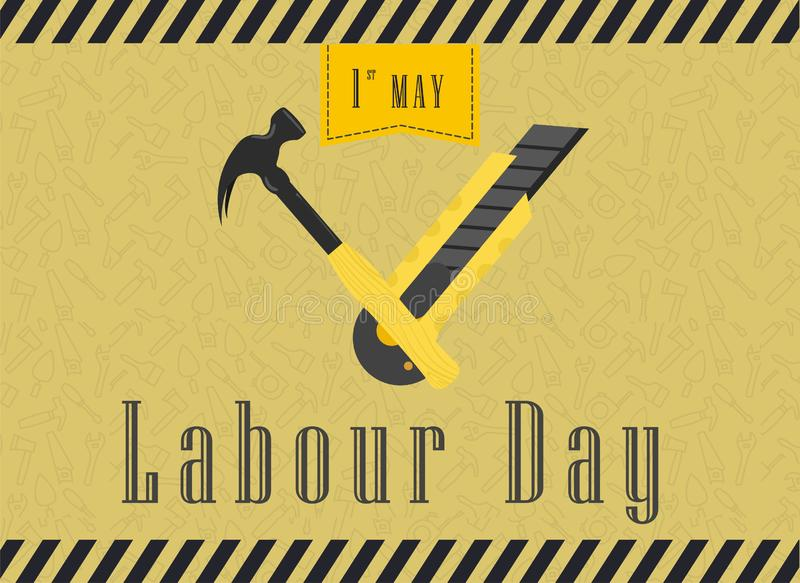 Happy Labour Day Celebration. Happy Labour Day Postcard or Poster or Flyer Template. Happy Labour Day Design, Vector Illustration. stock illustration