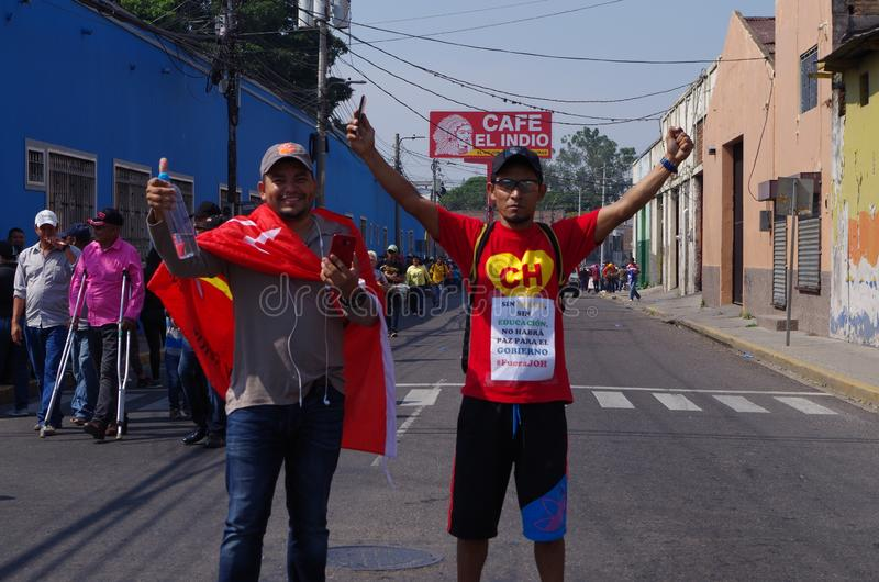 Labour day protest march Tegucigalpa Honduras May 2019 15. Workers and trade unionist march on the labour day celebration in protest of the corruption of the royalty free stock image
