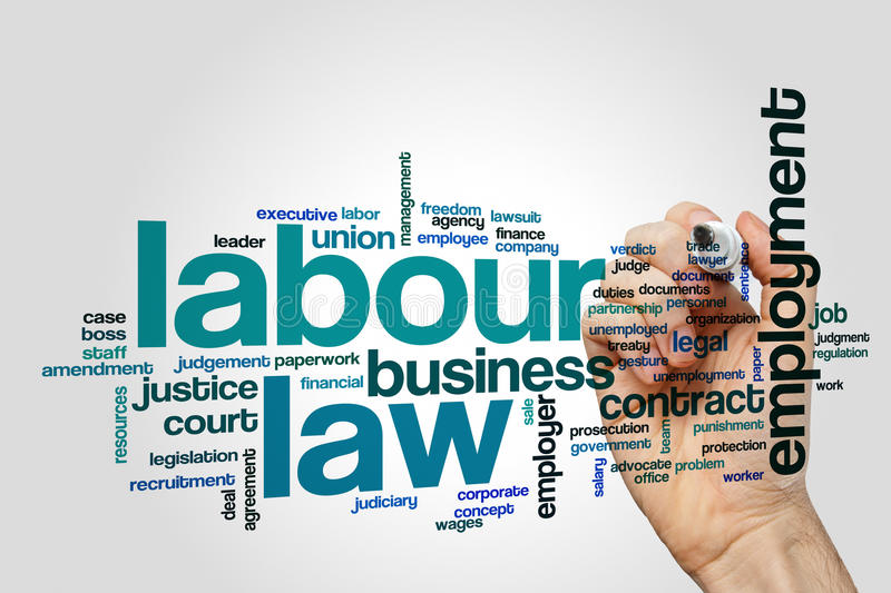 Labour law word cloud concept royalty free stock photo