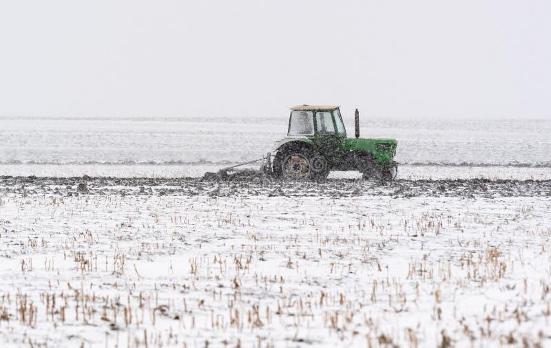 Labourage du gisement de chaume pendant la saison d'hiver image stock
