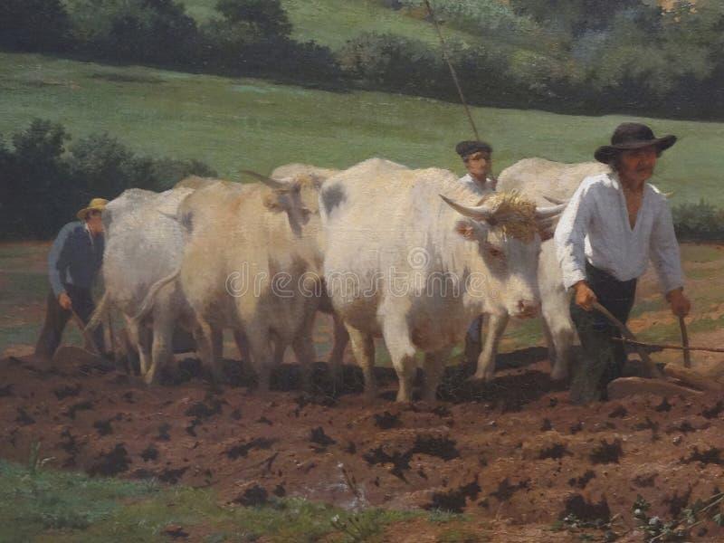 ' Labourage nivernais' , sieda il aussi ' Le sombrage' ( détail) , Rosa Bonheur, 1849 fotografie stock libere da diritti