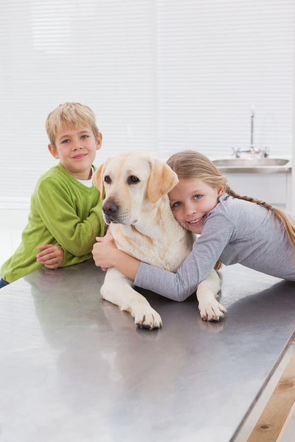 Labrador bonito com seus proprietários alegres foto de stock royalty free