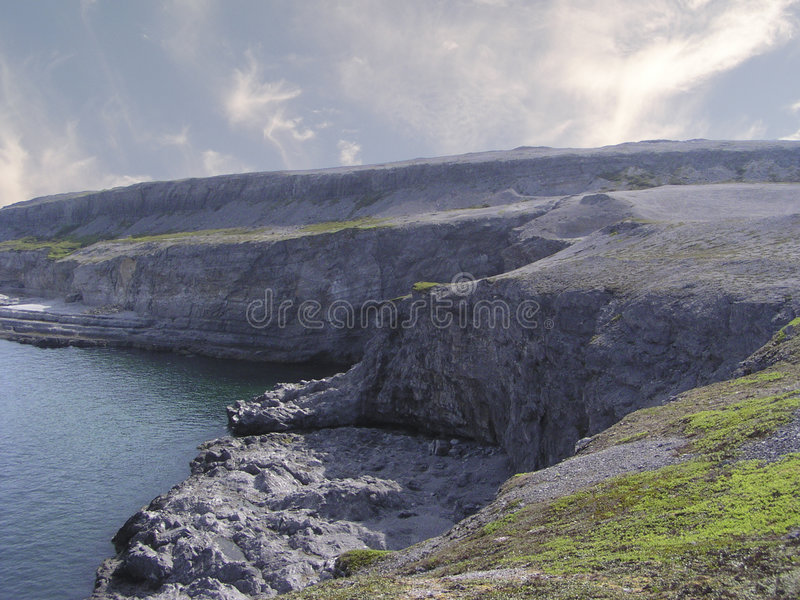 Labrador coastline. Viking land of Burnt Cape Cape, New Foundland, Labrador stock photography