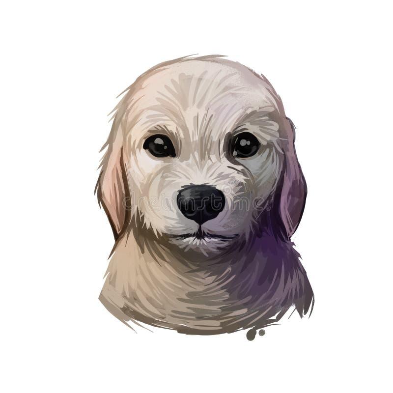 Labrador Retriever-puppy van Canada en de Britse digitale kunst Canadees huisdier dat gebruikt wordt om mensen met een handicap,  royalty-vrije illustratie