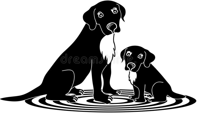 Labradors dogs. Sitting on rug mother and poppy dog stock illustration