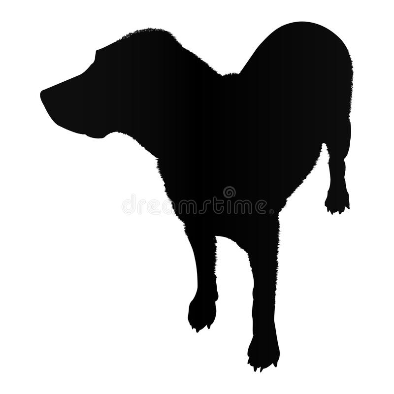 Labradorsilhouet dat op witte vectorillustratie wordt geïsoleerd als achtergrond royalty-vrije illustratie