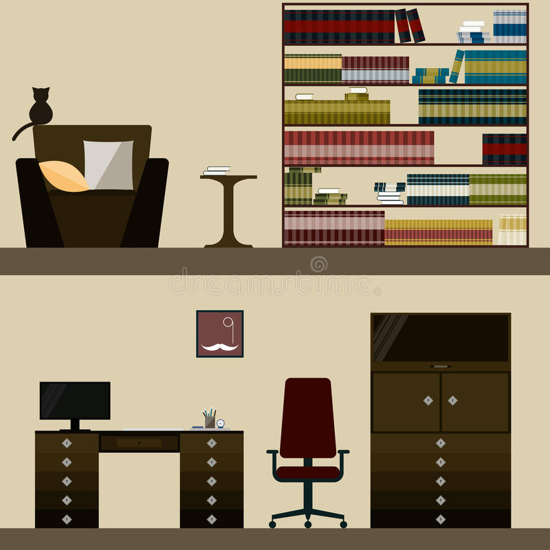 Labrary and men's room interior vector illustration