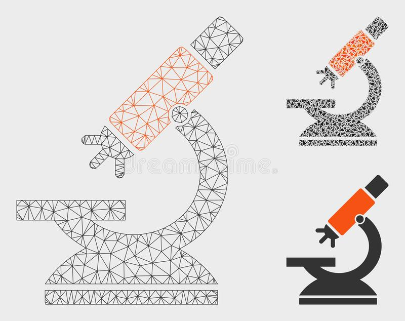 Labs Microscope Vector Mesh 2D Model and Triangle Mosaic Icon stock illustration