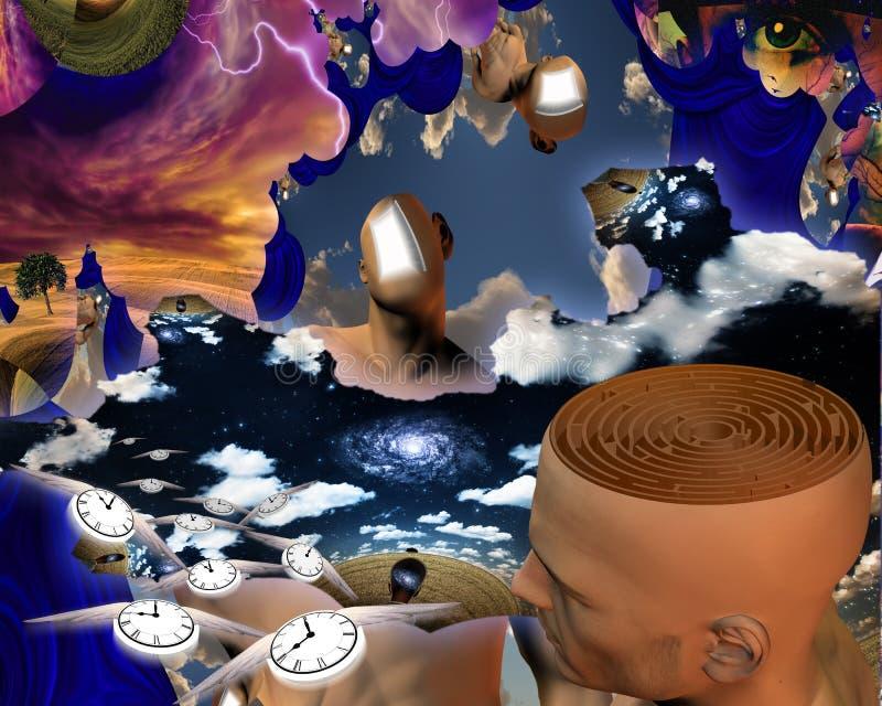 Labyrint av tankar royaltyfri illustrationer
