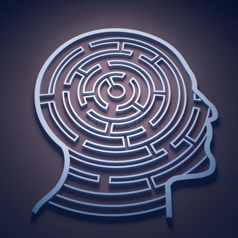 Labyrint binnen een hoofd royalty-vrije illustratie