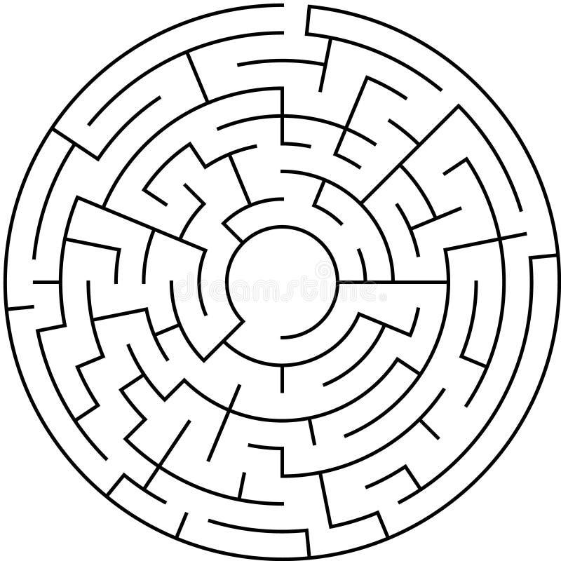 Labyrint-/cirkellabyrint med tillträdeet och utgången vektor illustrationer