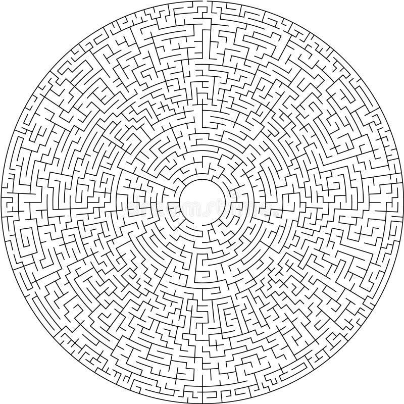 Labyrint-/cirkellabyrint med tillträdeet och utgången royaltyfri illustrationer