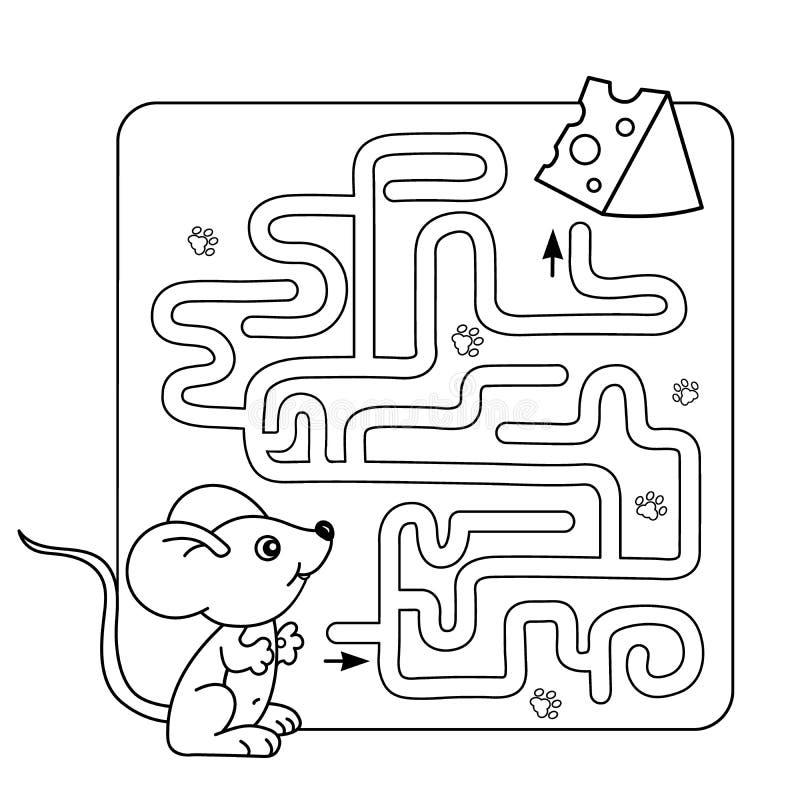 Labyrint eller labyrintlek för förskole- barn Pussel Färga sidaöversikten av den lilla musen med ost royaltyfri illustrationer