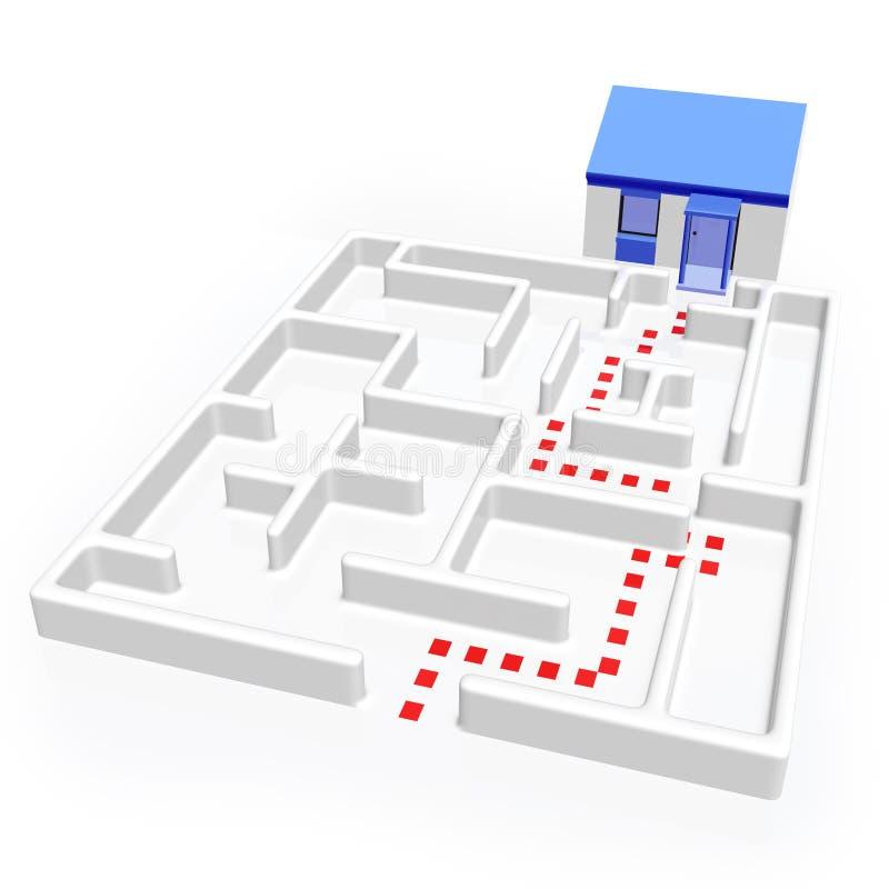 Labyrint en Huis royalty-vrije illustratie