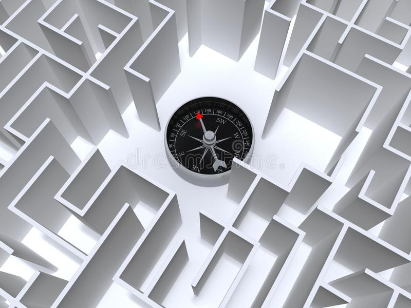 Labyrint en kompas vector illustratie