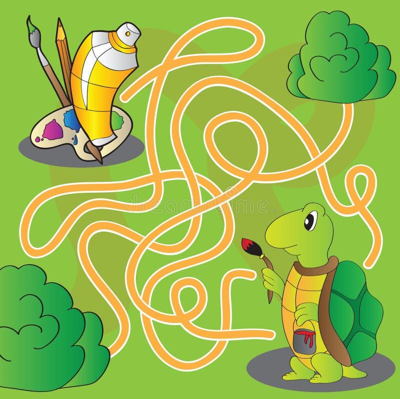 Labyrint för barn - hjälp sköldpaddan att få till målarfärger och borstar för att måla stock illustrationer
