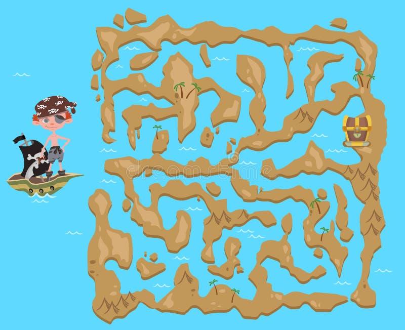 Labyrint för barn` s Piratkopiera skattöversikten Pussellek för ungar, vektorillustration royaltyfri illustrationer