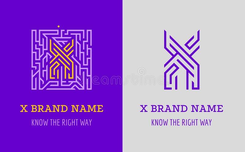 Labyrint för x-bokstavslogo Idérik logo för företags identitet av företaget: bokstav X Logoen symboliserar labyrinten, val av den stock illustrationer