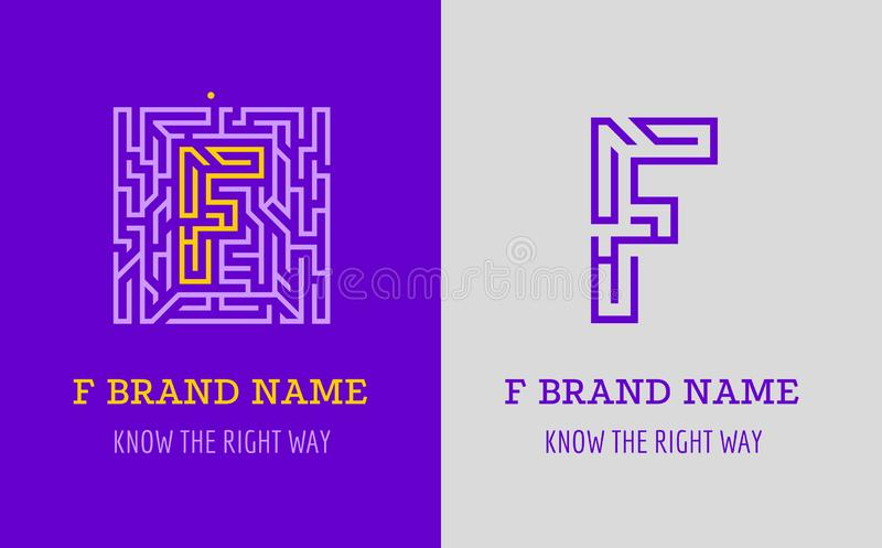 Labyrint för f-bokstavslogo Idérik logo för företags identitet av företaget: bokstav F Logoen symboliserar labyrinten, val av den stock illustrationer