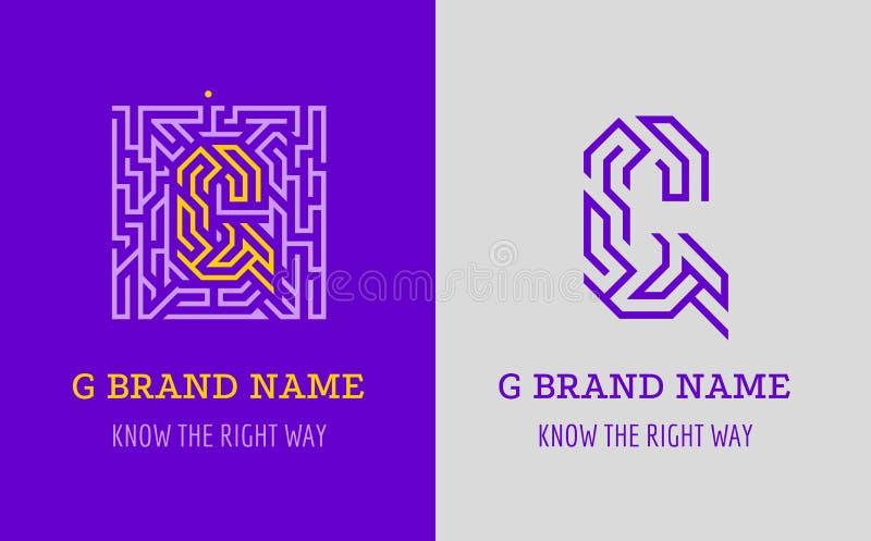 Labyrint för G-bokstavslogo Idérik logo för företags identitet av företaget: bokstavsG Logoen symboliserar labyrinten, val av den royaltyfri illustrationer