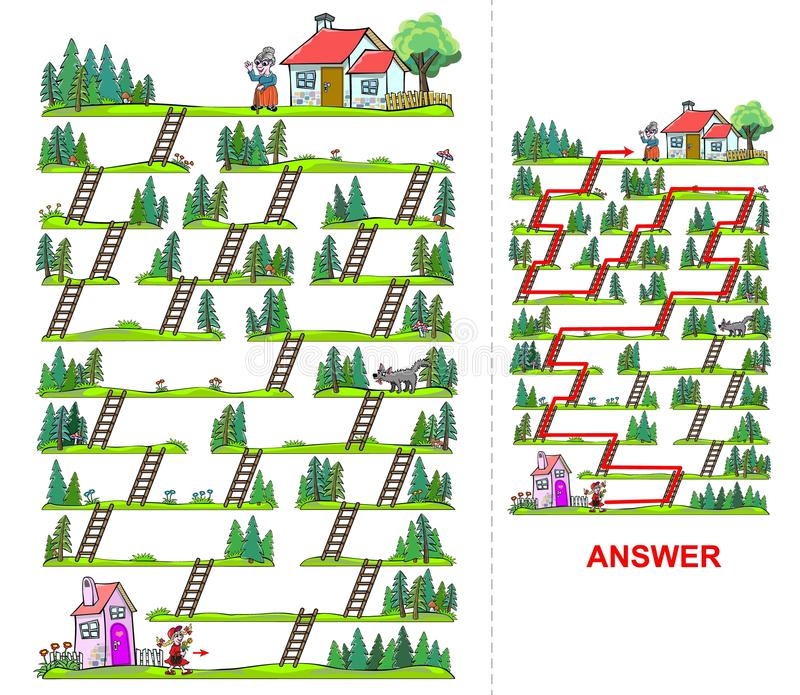 Labyrint för liten röd ridninghuv för ungar vektor illustrationer