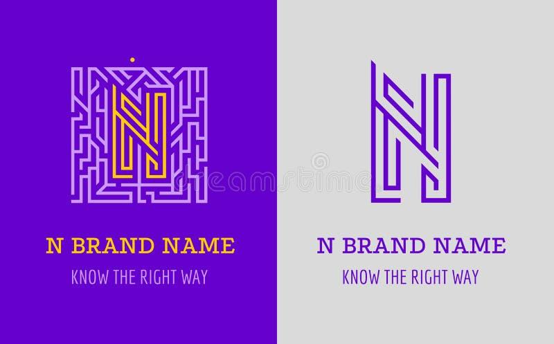 Labyrint för n-bokstavslogo Idérik logo för företags identitet av företaget: bokstav N Logoen symboliserar labyrinten, val av den stock illustrationer