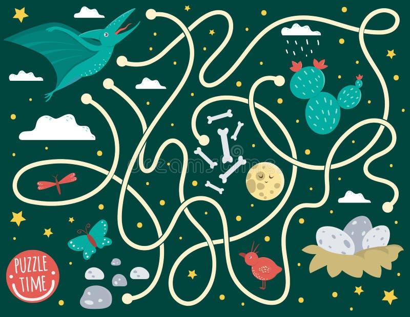 Labyrint f?r barn Förskole- aktivitet med dinosaurien Pussellek med flygödlan, moln, ägg i rede, ben, fjäril, fågel, royaltyfri illustrationer