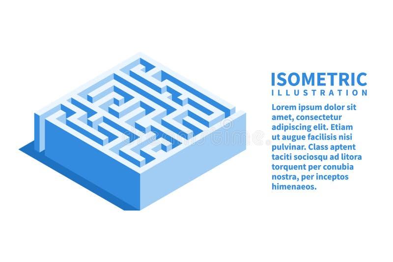 Labyrint fyrkantig labyrintsymbol Isometrisk mall för rengöringsdukdesign i plan stil 3D också vektor för coreldrawillustration stock illustrationer