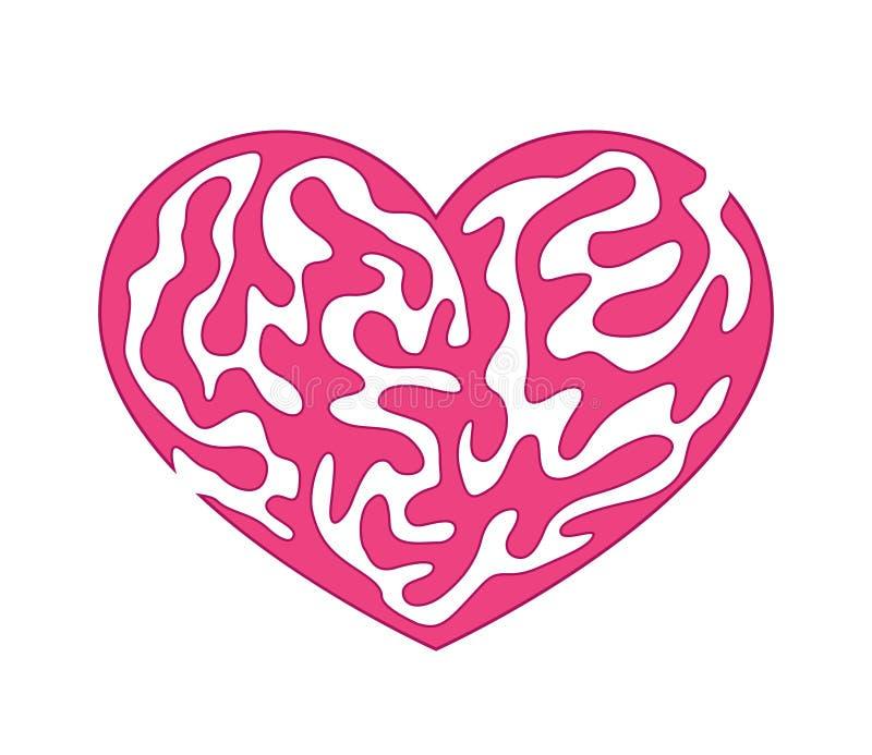 Labyrint in hart vector illustratie