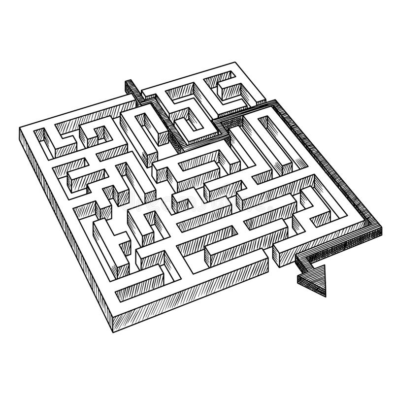 Labyrint of labyrint, door pijl wordt opgelost die royalty-vrije illustratie