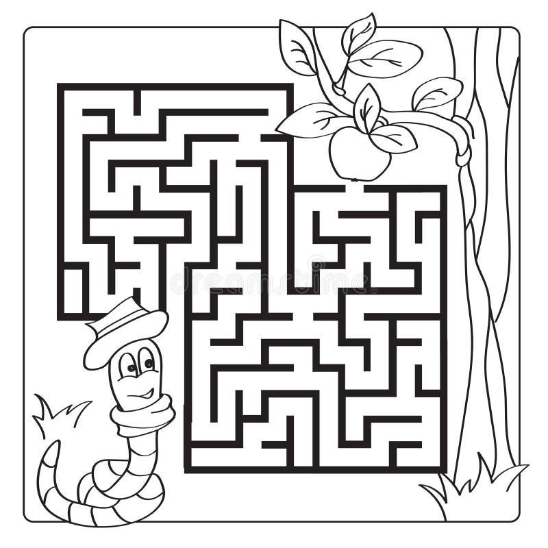 Labyrint labyrint för ungar Tillträdeet och går ut Barnpussellek - färgläggningbok vektor illustrationer