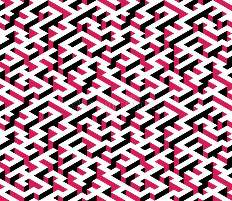 Labyrint labyrint - isometrisk ändlös modell vektor royaltyfri illustrationer