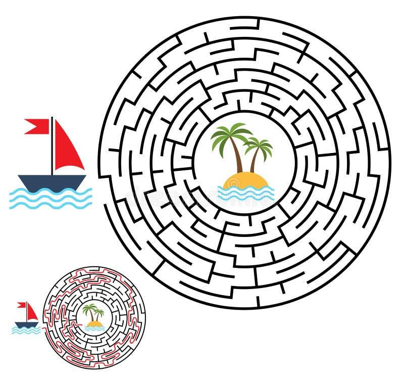 Labyrint, labyrintraadsel voor jonge geitjes Ingang en Uitgang Kinderen puz vector illustratie