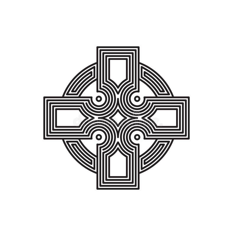 Labyrint lineair vector dwarsembleem stock fotografie