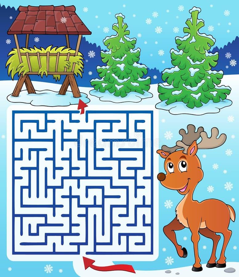 Labyrint 3 med den hökuggen och renen royaltyfri illustrationer