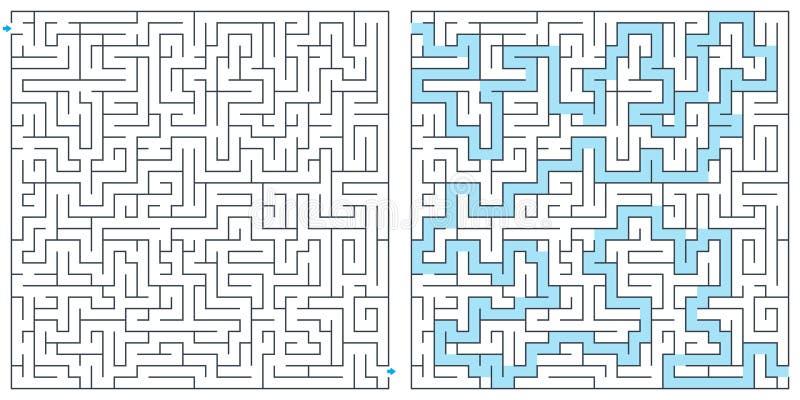 Labyrint labyrint med lösningsvektorillustrationen Fyrkantig labyrint Madrid Barcelona, Valencia t?cker av armsMadrid, den Barcel vektor illustrationer