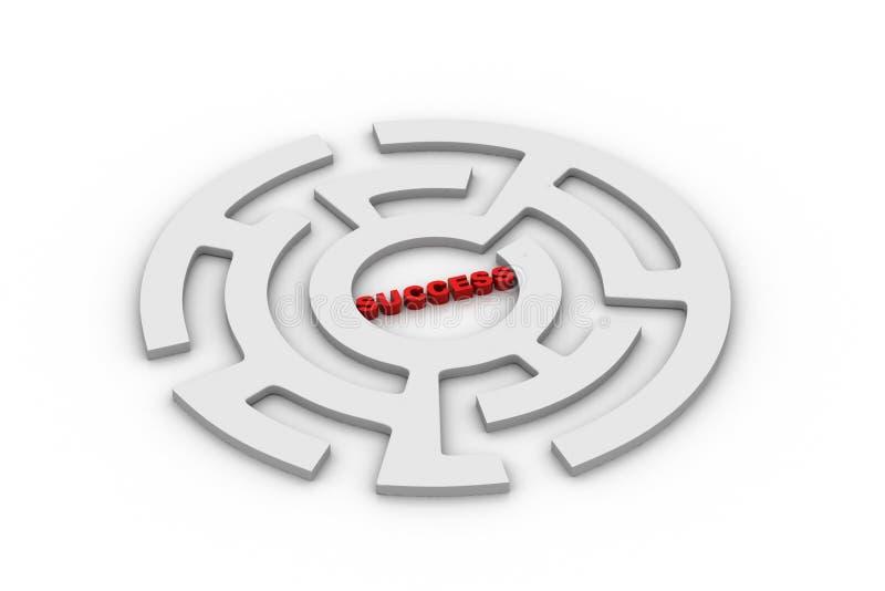 Labyrint med ordframgång stock illustrationer