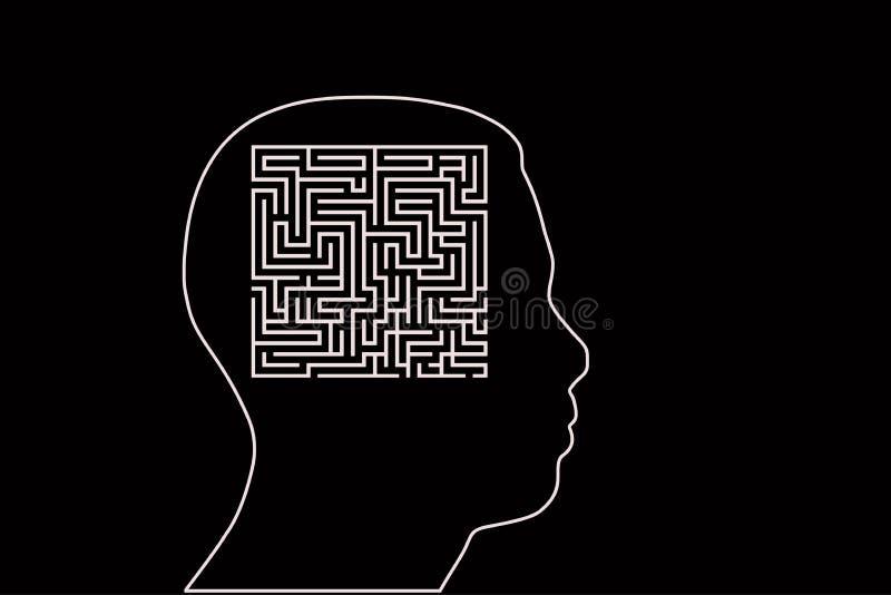 Labyrint menselijk hoofd Vector illustratie royalty-vrije illustratie
